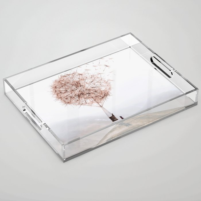Flying Dandelion Acrylic Tray