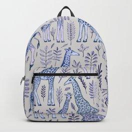 Blue Giraffe Pattern Backpack