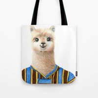 alpaca Tote Bags featuring Alpaca by Jenna Caire