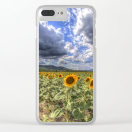 Sunflower Summer Field Clear iPhone Case