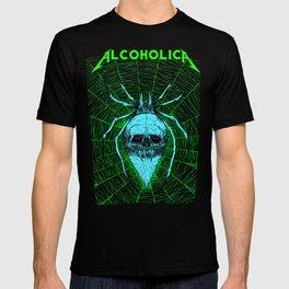 ALCOHOLICA SPIDER SKULL WEB 80's thrasher T-shirt