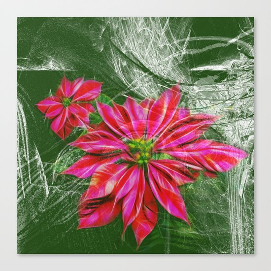 Abstract vibrant red poinsettia on green texture Canvas Print