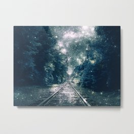 "Dream Train Tracks Teal : ""Next Stop, Anywhere"" Metal Print"