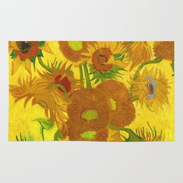 Vincent Van Gogh Fifteen Sunflowers In A Vase Rug