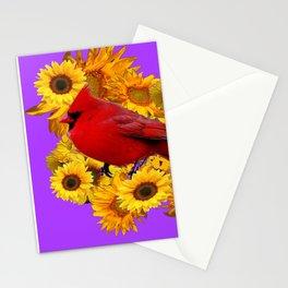 RED CARDINAL & YELLOW SUNFLOWERS PANTENE PURPLE Stationery Cards