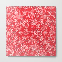 White Flowers on red. Metal Print