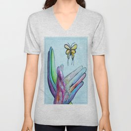 American Sign Language BUTTERFLY Unisex V-Neck