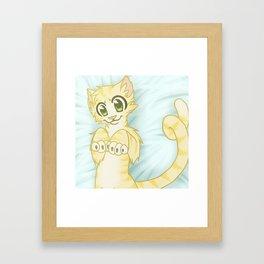 Cat on a Pillow Framed Art Print