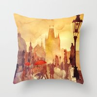 takmaj Throw Pillows featuring Charles Bridge by takmaj
