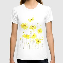 yellow cosmos flowers watercolor T-shirt