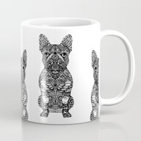 frenchie Mugs featuring Mandala Frenchie by Huebucket