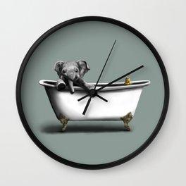 Elephant in Bath Wall Clock