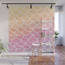 Modern hand drawn summer geometric mermaid scallop pink orange ombre watercolor Wall Mural