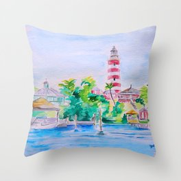 Elbow Reef Lighthouse Hope Town, Abaco, Bahamas Watercolor painting Throw Pillow