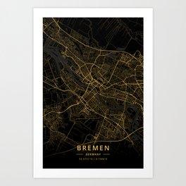 Bremen, Germany - Gold Art Print