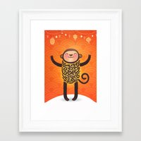 monkey Framed Art Prints featuring Monkey by Anna Alekseeva kostolom3000