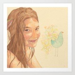 The bird girl Art Print