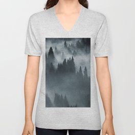 Beautiful winter landscape in the mountains. Sunrise. Carpatian valley with fog and snow. Carpathian winter mountains. Early morning light lay on a mountain hill.  Unisex V-Neck