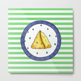 Samosa and stripes Metal Print