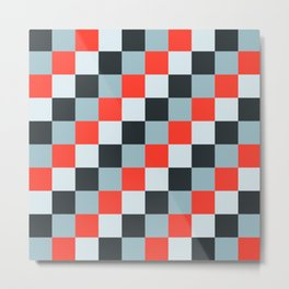 Stainless steel knife - Pixel patten in light gray , light blue and red Metal Print