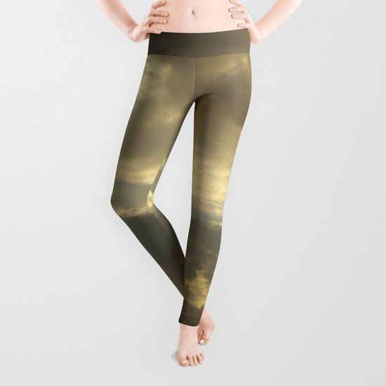 Grey tan stormy clouds in the middle of nowhere Leggings