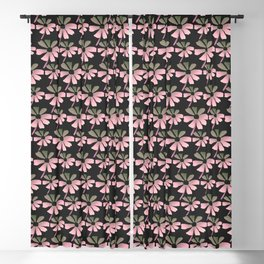 Daisies In The Summer Breeze - Pink Grey Black Blackout Curtain