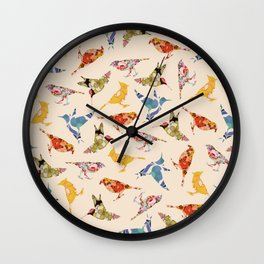 Vintage Wallpaper Birds Wall Clock
