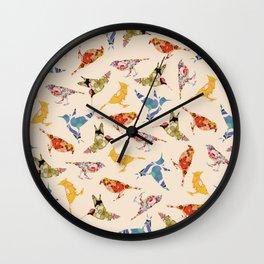 Vintage Wallpaper Birds Wall Clock