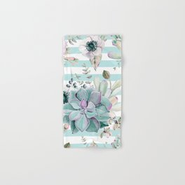 Succulents in the Garden Succulent Blue Stripes Hand & Bath Towel