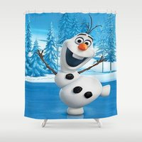 olaf Shower Curtains featuring olaf best decoration ideas design by customgift