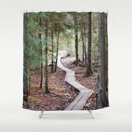Duckboards to deep forest Shower Curtain
