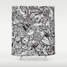 Detailed rectangle, black and white  Shower Curtain