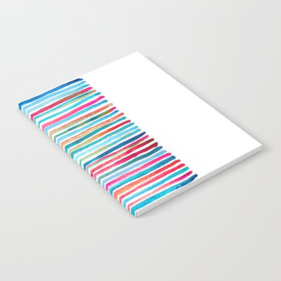 Watercolor Stripes in Pink, Coral, Blue & Aqua Notebook
