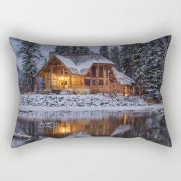 Cabin in Winter Woods (Color) Rectangular Pillow