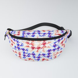 Houndstooth Red White and Blue Psychedelic Star Pattern Fanny Pack