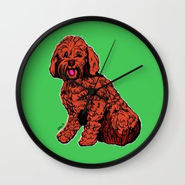 Labradoodle Illustration with Green Wall Clock