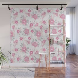 Pink pastel florals cute nursery baby girl decor floral botanical bouquet blooms Wall Mural