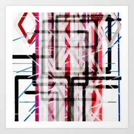 Red Black White Abstract Drawing Art Print