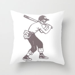 Skull Ballplayer Throw Pillow