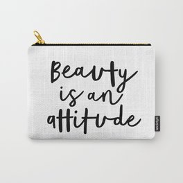 Beauty is an Attitude black-white typography poster design modern canvas wall art home decor Carry-All Pouch