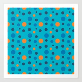 Blue and Orange dots on Blue Art Print