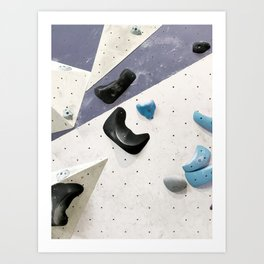 Geometric abstract free climbing bouldering holds black blue men Art Print