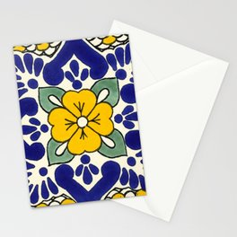 talavera mexican tile in yellow Stationery Cards