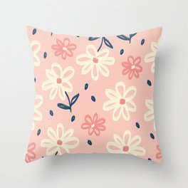 Lovely White Flowers Floral Pattern on Pink Throw Pillow