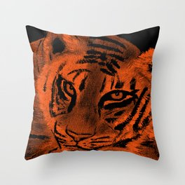 Tiger with Orange Background Throw Pillow