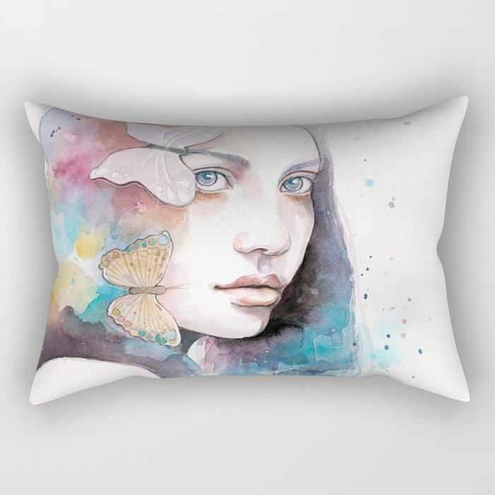 Lady with a butterfly Rectangular Pillow