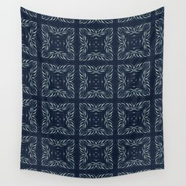 Traditional Indigo Blue Hand Drawn Portugal Wall Tapestry
