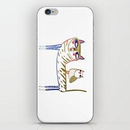 cat and owl, cat art, cat print, cat illustration, cats, cat, owl print, iPhone Skin