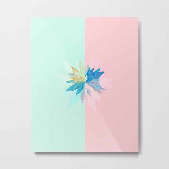 Floral Mint Pink Metal Print