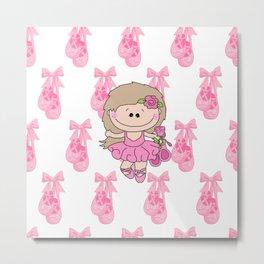 Little Ballerina in Pink Metal Print